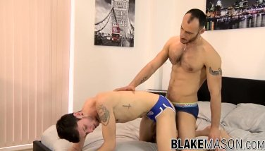 Anally drilled twink cums with his lover