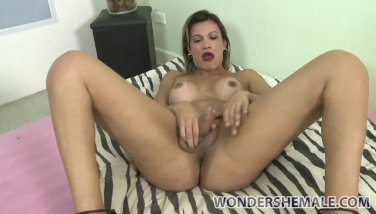 Hot blonde latina transsexual Leticia Andrade solo strokes