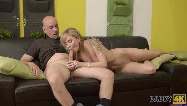 DADDY4K. Pretty chick shows boyfriend's handsome daddy all sex skills