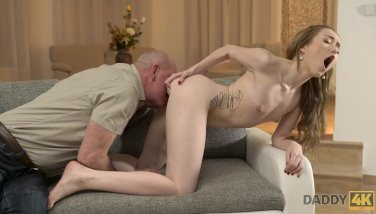 DADDY4K. Curious babe wanted to see cock of her boyfriend's father