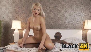 BLACK4K. Tender athletic male and cutie in black on white sex scene