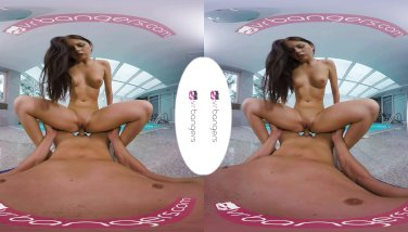 VRBangers Young Brunette Get Fucked Hard at the Pool Side VR PORN