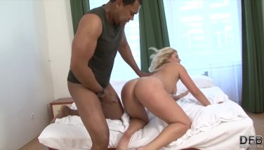 Interracial fuck for blonde his thick black cock penetrates her pussy hard