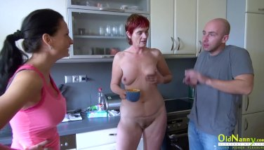 OldNannY Henrieta Pissing and Hard Threesome Sex