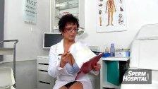 Skinny hot legs granny Vera wanking big dick
