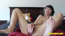 Big tits teen play with her huge pink dildo
