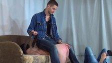 Gay master spans slave with belt