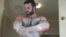 Bear shaving his fur off