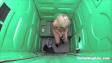 Porta Gloryhole Blonde girl swallows cum