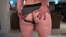 Chubby granny Kay is getting aroused
