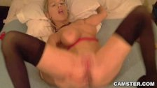 Blonde's pussy and asshole get fucked w/ toys