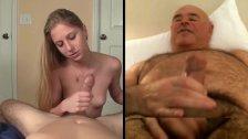 Blonde handling cock,man wanking