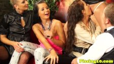 Glamour piss fetish sluts group fuck in bar