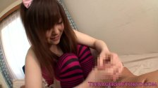 Nippon teen jerking off lucky guy