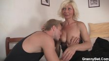 Blonde old women rides his stiff rod