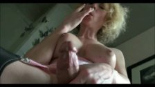 Blonde tranny ejaculates and tastes