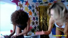 Threesome With Afro And Euro Skinny Teens