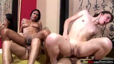 Oiled up tranny babes love cock sucking