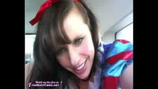 Snow White Cosplay Masturbates In Public Car