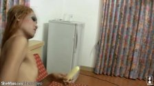 Long hair Asian tranny jerks off and bananas