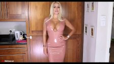 A perfect MILF with latex dress shows her bod