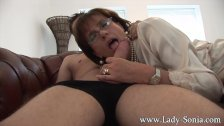 Lady Sonia gives young worker blowjob facial