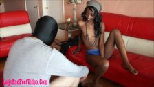 dirty black girl giving footjob and cum on fe