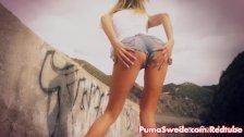 Blonde Puma Swede Masturbates in the Valley!