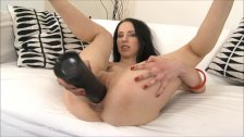 Russian punishes her pussy with brutal dildo