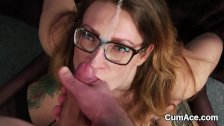Naughty peach gets jizz load on her face gulp