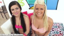 Karmen Karma and  Layla Price Sloppy Blowjob