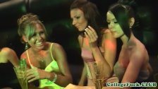 College sluts group fuck dude in club