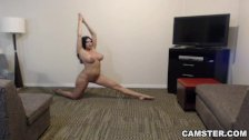MILF with Big Tits & Big Ass Does Naked Yoga