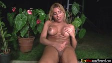 Bigass latin shemale cums hard after pounding