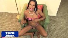 Ebony tgirl pulling her uncut rod