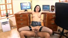 Secretary Renata fucked in black fishnet