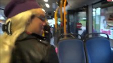 Threesome blowjob in bus 1fuckdatecom