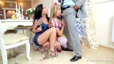 Teens Angella Christin and Niki Sweet 3some