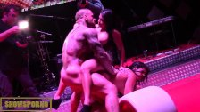 Bigbutt latin pornstars threesome on stage