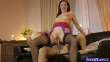 British milf cocksucking in pov threeway