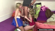 Excited teens sharing a hard cock
