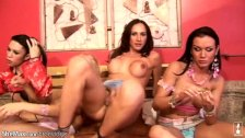 Horny tranny girlfriends fuck their asses
