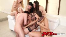 James Deen with 5 hot girls in one sexy orgy
