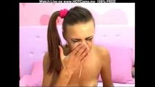 Lovely Young Brunette Big Dildo Deepthroat