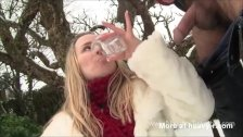 Amateur blonde swallows and drinks piss