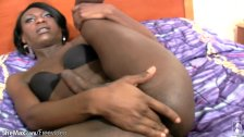 Hot tranny poses with chubby black babe in POV blowjob