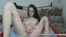 Amateur Petite Tattooed Chick Squirts On Cam!