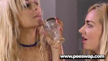 Puppy pee swapping with a sexy blond