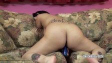Cristal Cortez stuffs her tight twat with a toy