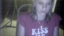 Cute blonde chick chatting on webcam